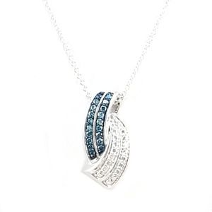 Jewelry - Sterling Silver Blue & White Diamond Necklace